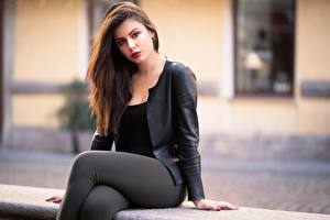 Photo Ester Merja Blurred background Brown haired Jacket Staring Sit Luigi Malanetto