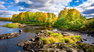 Bilder Finnland Herbst Fluss Stein Bäume