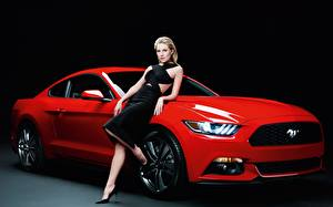 Image Ford Red Blonde girl Posing Dress Mustang, GT500, Sienna Miller young woman Cars
