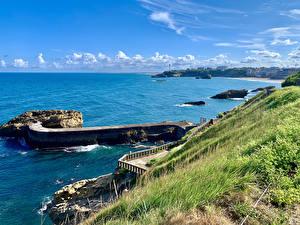 Desktop hintergrundbilder Frankreich Küste Bootssteg Bucht Biarritz Natur