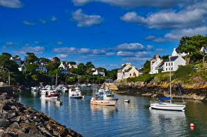 Wallpaper France River Houses Powerboat Brittany Cities