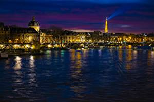 Pictures France Rivers Paris Night time Towers Seine
