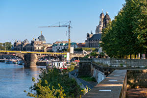 Images Germany Dresden Houses Rivers Bridges Berth Cities