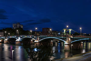 Picture Germany Frankfurt Houses River Bridge Night Street lights Cities
