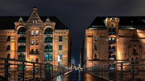 Images Germany Hamburg Bridges Houses Night  Cities