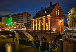 Image Germany Hamburg Building Night time  Cities