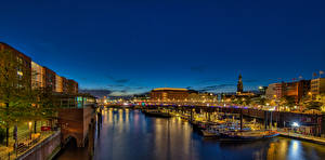 Photo Germany Hamburg Houses Riverboat Night time panorama Cities