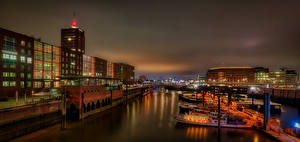 Pictures Germany Hamburg Riverboat Building River Night Cities