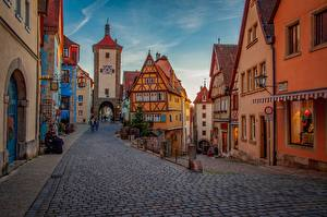 Pictures Germany Building Street Bavaria Rothenburg
