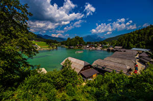 Photo Germany Mountains Lake Building Sky Clouds