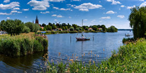 Wallpapers Germany River Church Boats Clouds Havel Nature