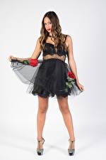 Fotos Model Kleid Posiert Blick Grauer Hintergrund Bein Giorgia junge frau