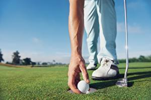 Pictures Golf Closeup Hands Balls Lawn sports