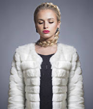 Images Gray background Blonde girl Plait Red lips Fur coat