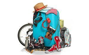 Wallpaper Hat Tourism Suitcase Plimsoll shoe Roller skates White background