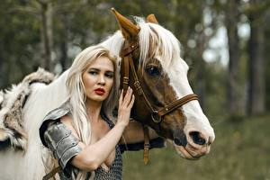 Photo Horses Warriors Two Blonde girl Armour Glance Hands female