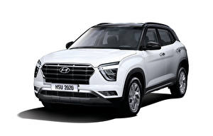 Bakgrundsbilder på skrivbordet Hyundai Crossover Vit Metallisk Vit bakgrund Creta, MX-spec, (SU2), 2020