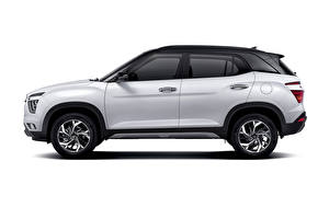 Bakgrundsbilder på skrivbordet Hyundai Vit Metallisk Sidovy Crossover Vit bakgrund Creta, MX-spec, (SU2), 2020