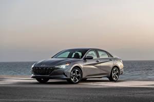 Pictures Hyundai Gray Metallic Elantra Hybrid, North America, (CN7), 2020 automobile