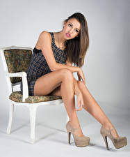 Photo Model Chair Sit Legs Staring Irene young woman
