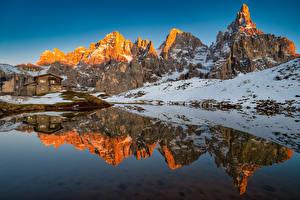 Bureaubladachtergronden Italië Bergen Een meer Alpen Reflectie Dolomites, Baita Segantini Natuur