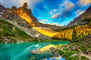 Wallpapers Italy Mountain Lake Stones Landscape photography Alps Cliff Clouds Lake Sorapis Nature