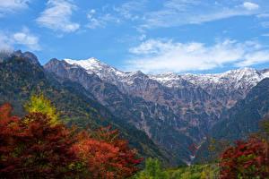 Bakgrundsbilder på skrivbordet Japan Berg Bladmossor Grenar Kanjon Kasagatake Mountain Natur