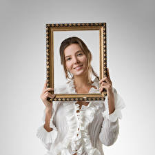 Image Katya Clover Smile Blouse Hands Staring  young woman