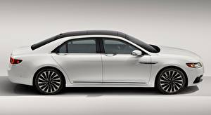 Pictures Lincoln Gray background Side White Sedan Continental, 2016 Cars