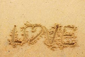 Fotos & Bilder Liebe Wort Sand Herz Natur
