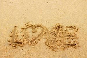 Pictures Love Text Sand Heart