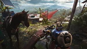 Fotos Maschinengewehr Pferde Far Cry 6 computerspiel