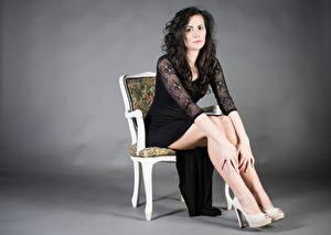 Photo Chairs Sit Dress Legs Brunette girl Glance Martina Girls