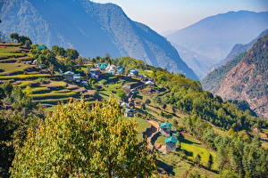 Picture Mountains Houses Trees Lukla, Nepal