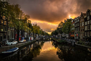 Photo Netherlands Amsterdam Houses Evening Canal Waterfront