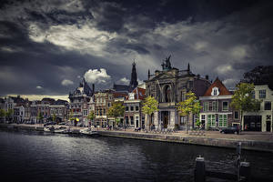 Wallpaper Netherlands Houses Evening Pier Canal Gemeente Haarlem Cities