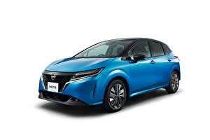 Wallpapers Nissan Light Blue Metallic White background Note e-POWER, JP-spec (E13), 2020 Cars pictures images