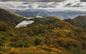 Hintergrundbilder Norwegen Herbst Berg Wolke  Natur