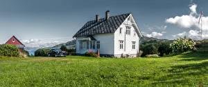 Bakgrundsbilder på skrivbordet Norge Byggnad Gräset Reksteren Natur
