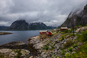 Hintergrundbilder Norwegen Lofoten Gebirge Wolke