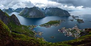 Fotos Norwegen Lofoten Berg Landschaftsfotografie Panorama Wolke