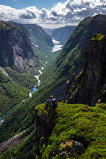 Picture Norway Mountain Crag Clouds Valley Hjelmeland