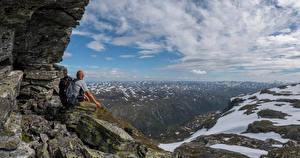 デスクトップの壁紙、、ノルウェー、山、雲、岩、Kvanndal、自然