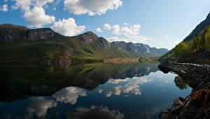デスクトップの壁紙、、ノルウェー、山、湖、倒影、雲、Forsand、自然