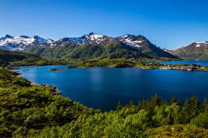 Tapety na pulpit Norwegia Góry Lofoty Krajobraz