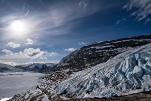 Hintergrundbilder Norwegen Gebirge Himmel Felsen Schnee Sonne Austerdalsisen Glacier Natur
