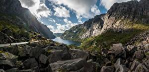 Desktop wallpapers Norway Mountains Stones Crag Clouds Bjerkreim Nature pictures images