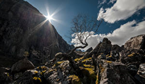 Wallpapers Norway Mountains Stones Crag Clouds Trees Sun Rogaland Nature pictures images