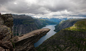 Pictures Norway Mountains Crag Clouds Troll's-Tongue, fjord Nature