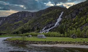 Wallpaper Norway Mountains Waterfalls River Rock Hildal